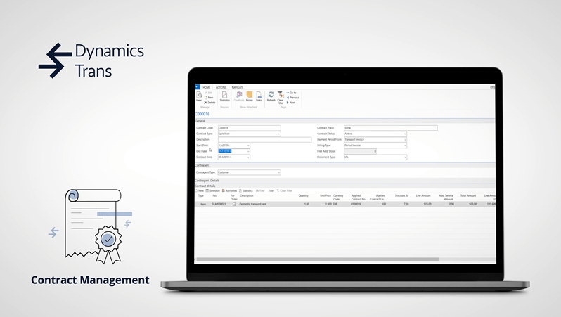 contract management functionality showcase